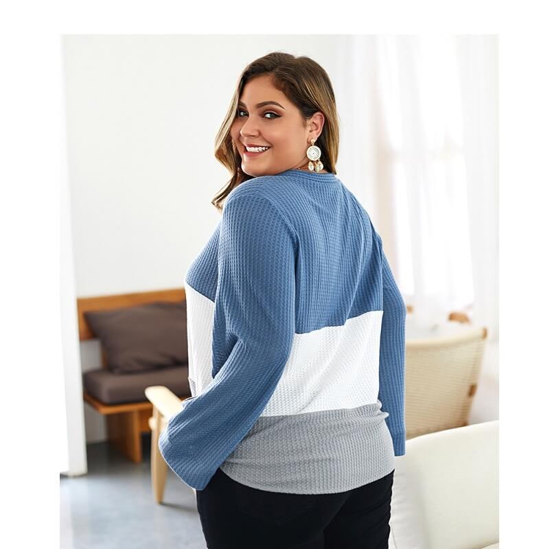 Plus Size Duster Sweater - blue side