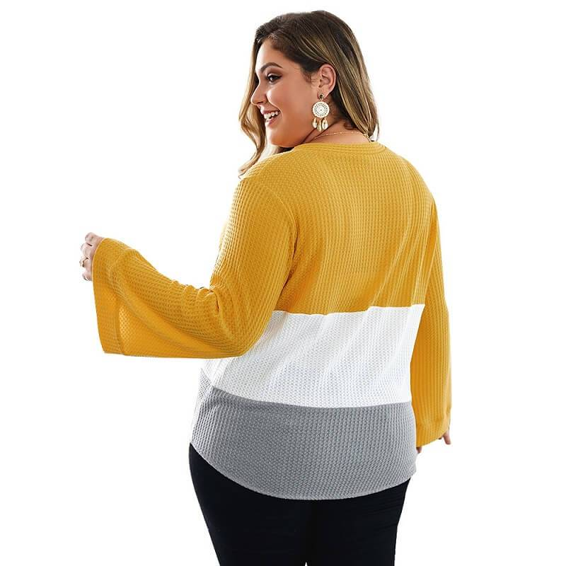 Plus Size Duster Sweater - yellow back