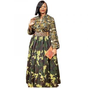 Plus Size Vintage Dresses - green color