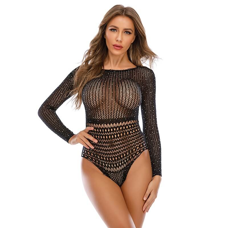 Long Sleeve Mesh Lingerie - Sexy  Model Front View