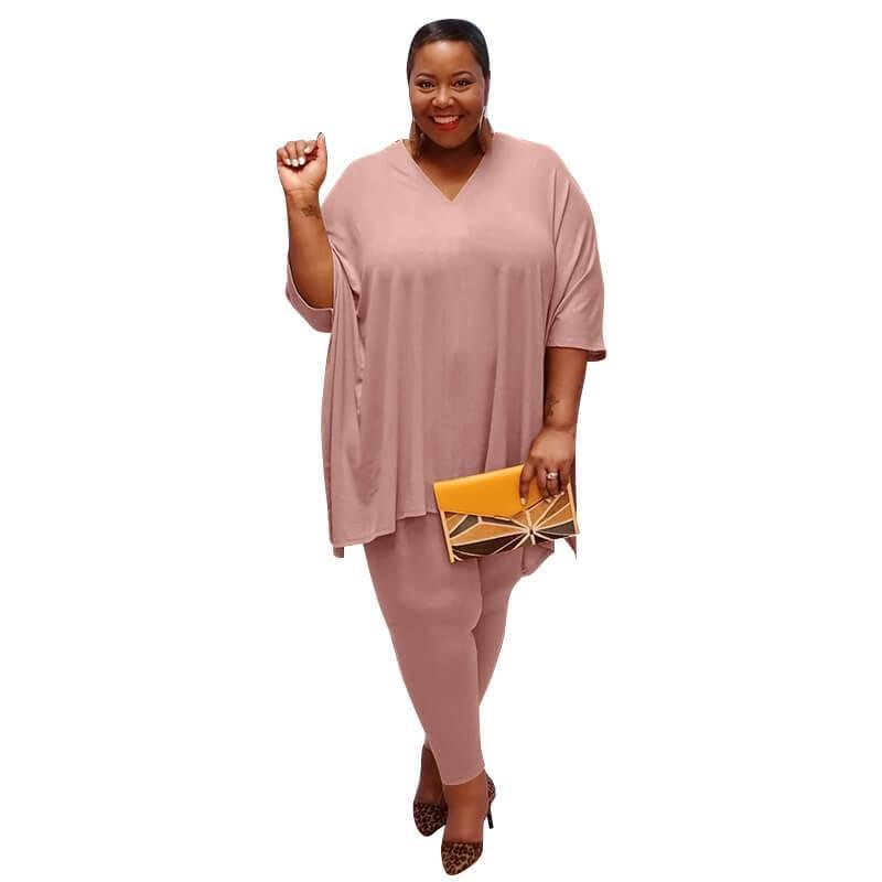 Plus Size Fashion Leisure Two Sets - pink color