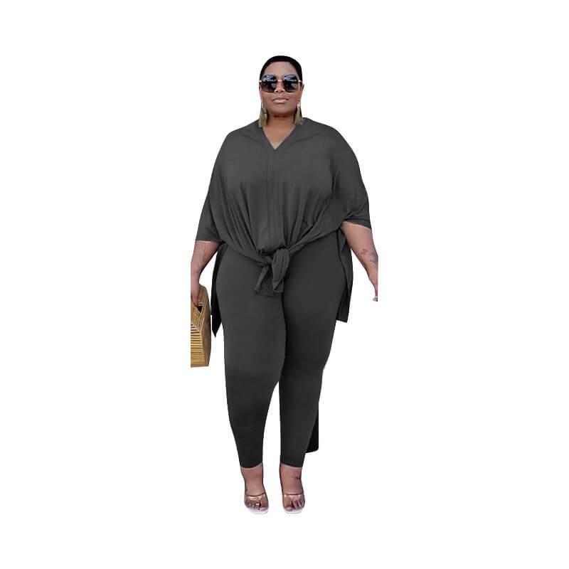 Plus Size Fashion Leisure Two Sets - black positive