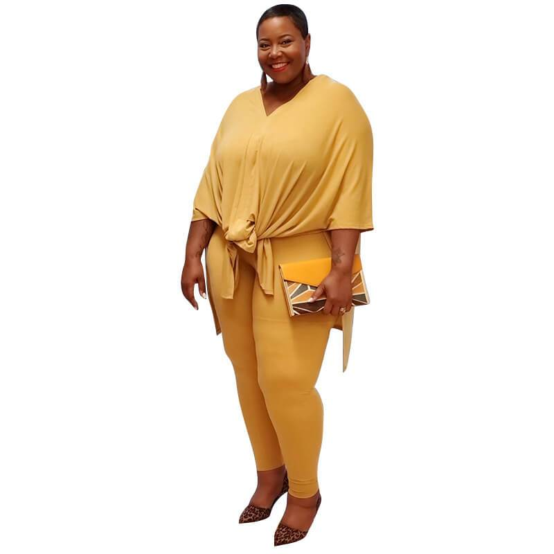 Plus Size Fashion Leisure Two Sets - yellow color