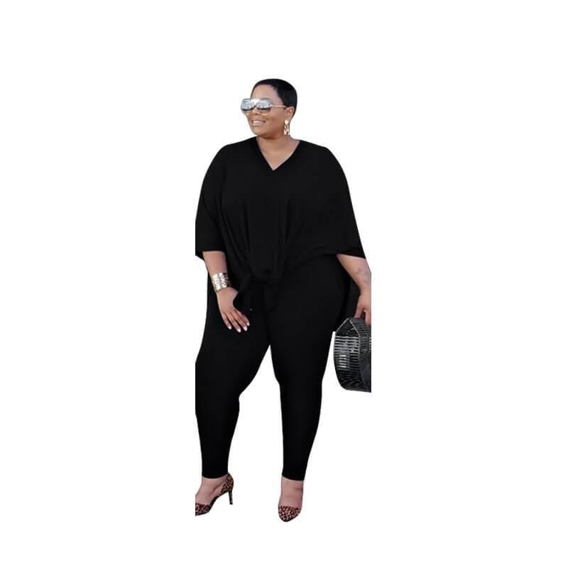 Plus Size Fashion Leisure Two Sets - black color