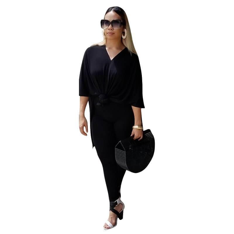 Plus Size Fashion Leisure Two Sets - black whole body