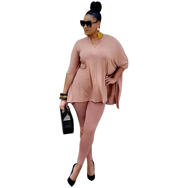 Plus Size Fashion Leisure Two Sets - pink positive