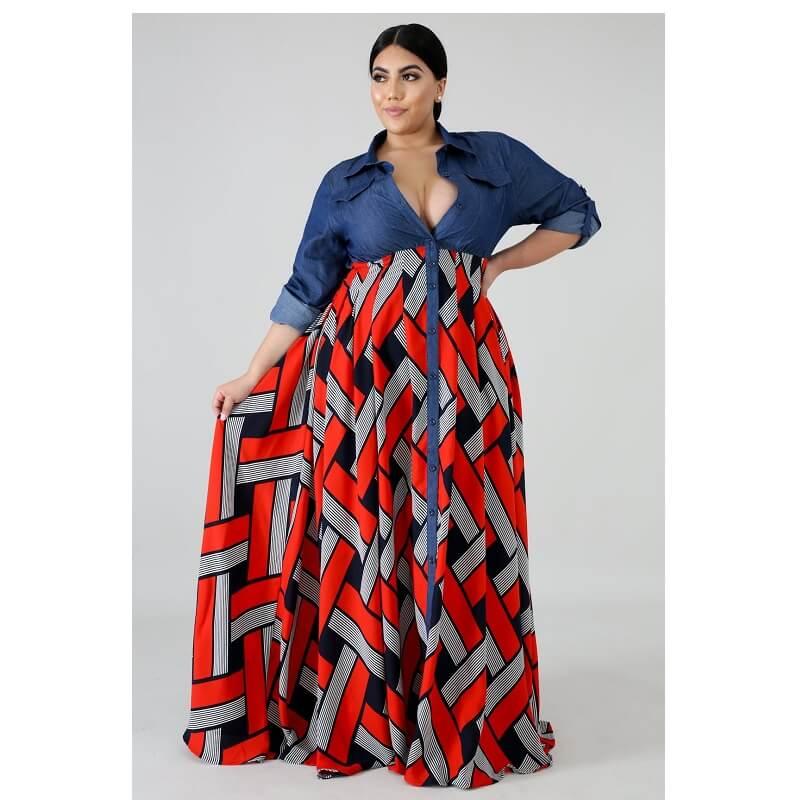 Plus Size Long Formal Dresses - red positive