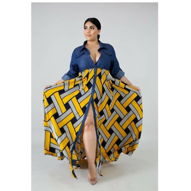 Plus Size Long Formal Dresses - yellow positive