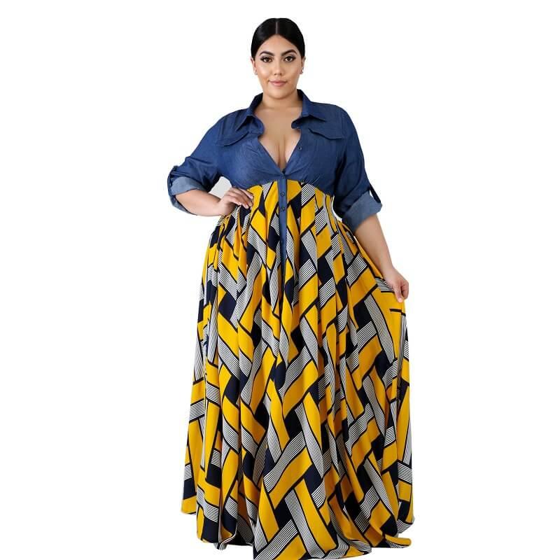 Plus Size Long Formal Dresses - yellow color