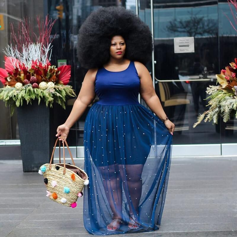 Plus Size Mesh Sleeveless Dress - blue color
