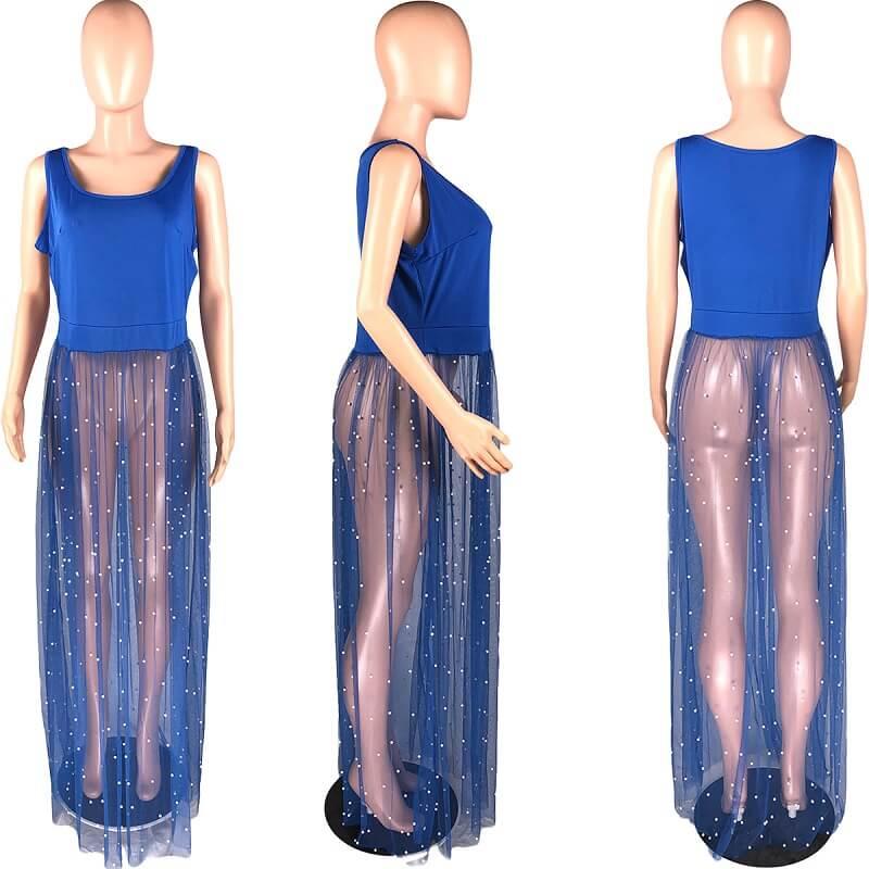 Plus Size Mesh Sleeveless Dress - blue detail image