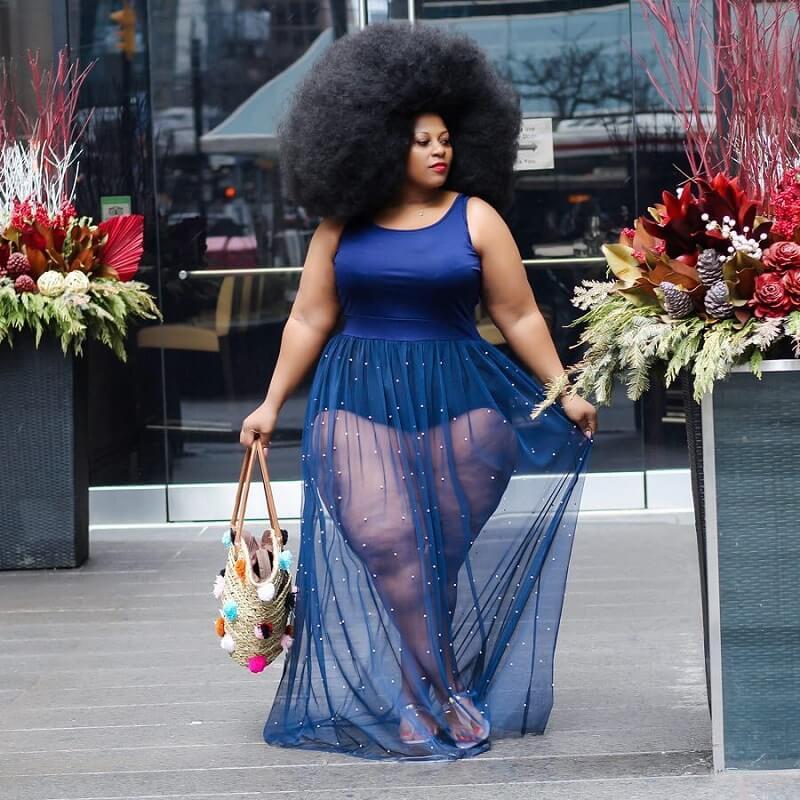 Plus Size Mesh Sleeveless Dress - blue positive