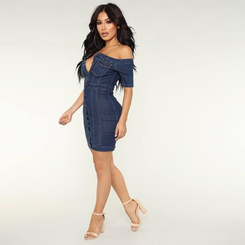 Fashion Off Shoulder Denim Dress - blue side