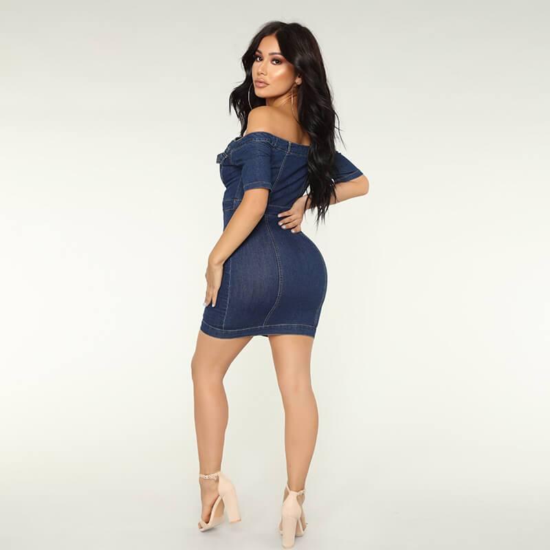 Fashion Off Shoulder Denim Dress - blue back