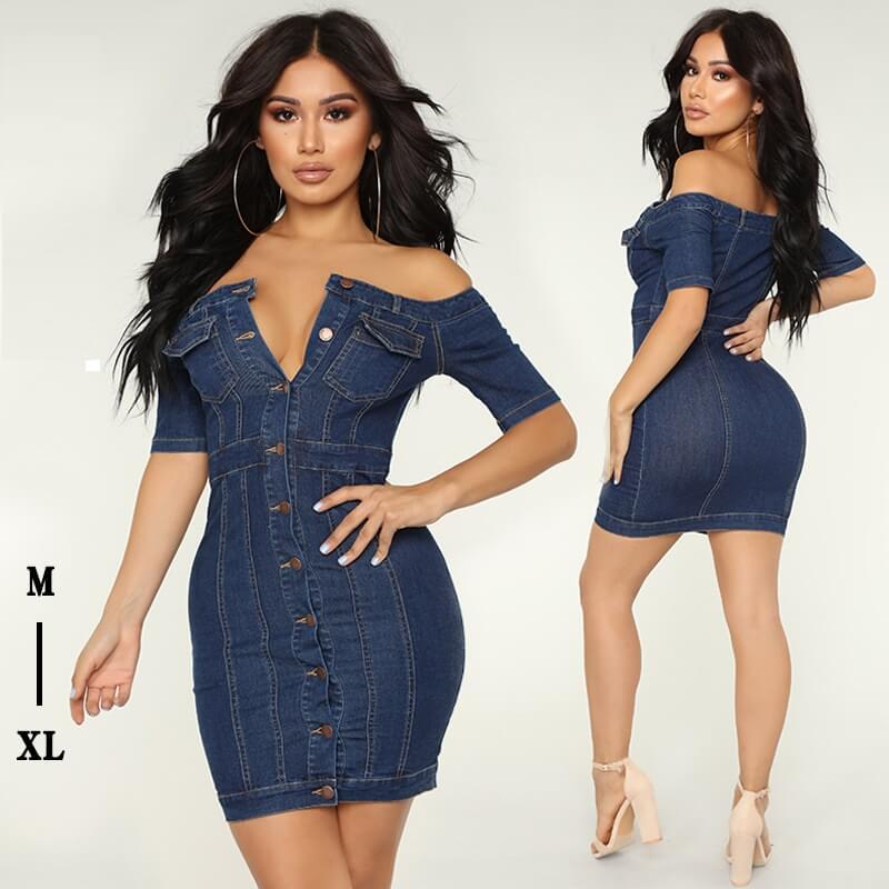 Fashion Off Shoulder Denim Dress - main picture