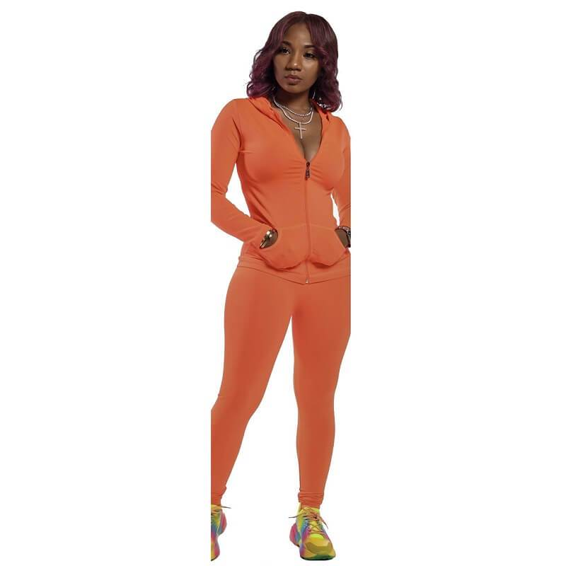 Red 2 Piece Outfit - orange color