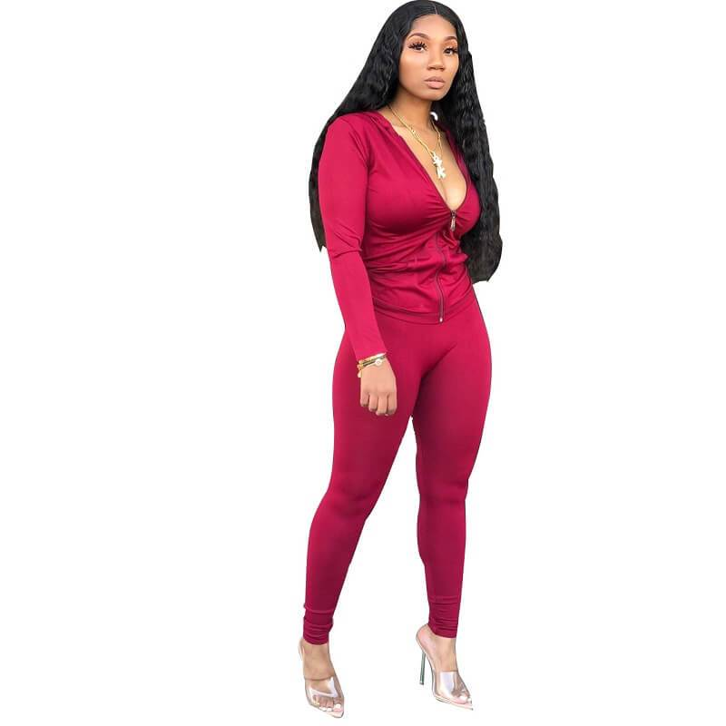 Red 2 Piece Outfit - wine red  color
