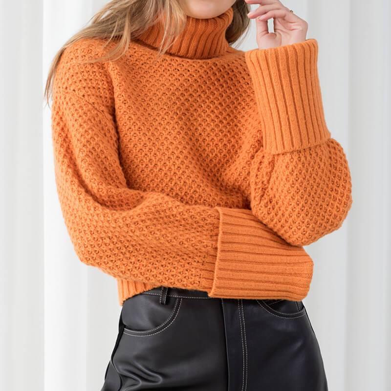 Orange Turtleneck Sweater Plus Size - orange color
