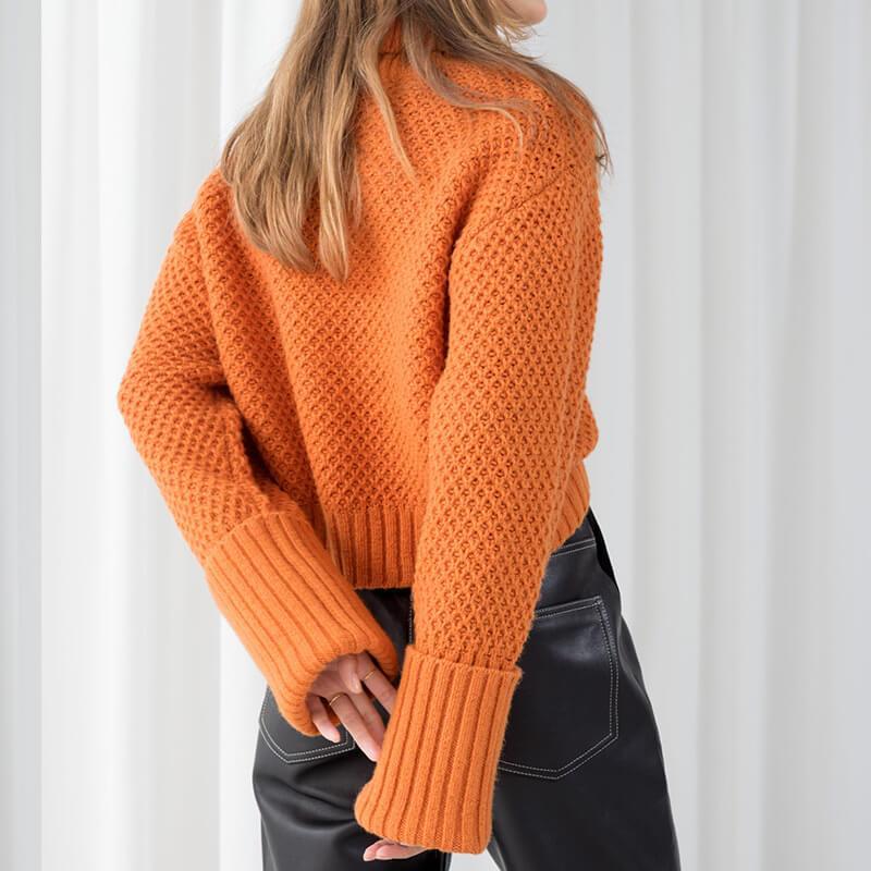 Orange Turtleneck Sweater Plus Size - orange  back