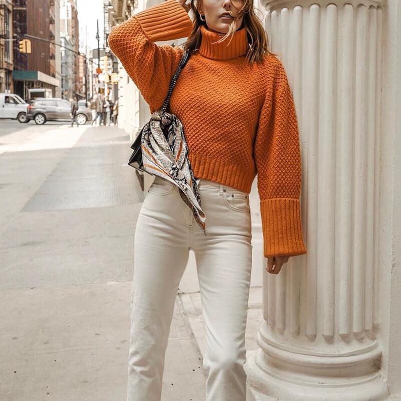 Orange Turtleneck Sweater Plus Size - orange whole body