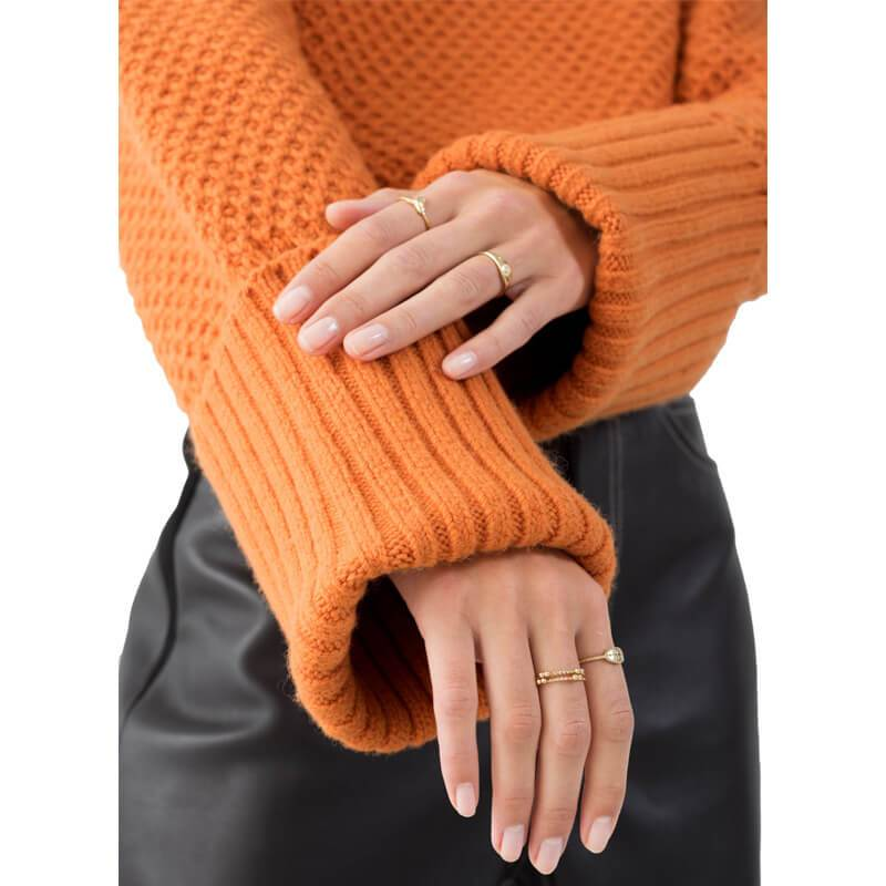 Orange Turtleneck Sweater Plus Size - detail image