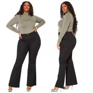 Plus Size Black Bell Bottom Jeans - black main picture