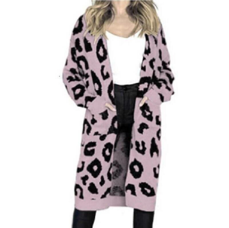 Plus Size Leopard Sweater - purple color