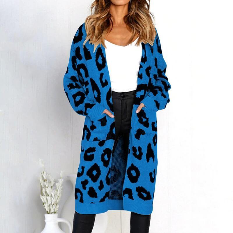 Plus Size Leopard Sweater - blue color