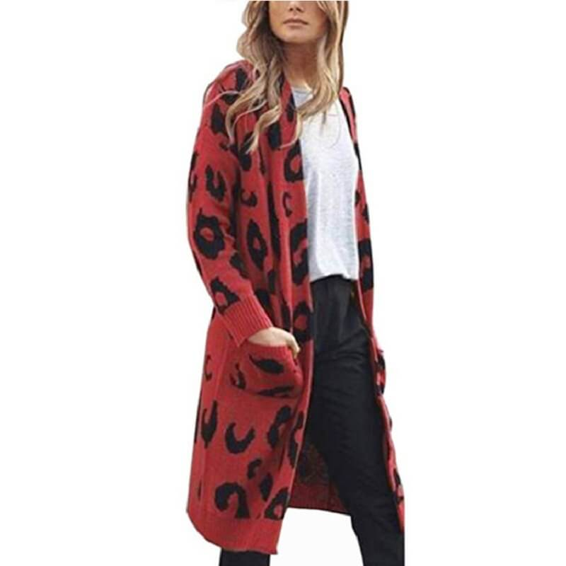 Plus Size Leopard Sweater - red color