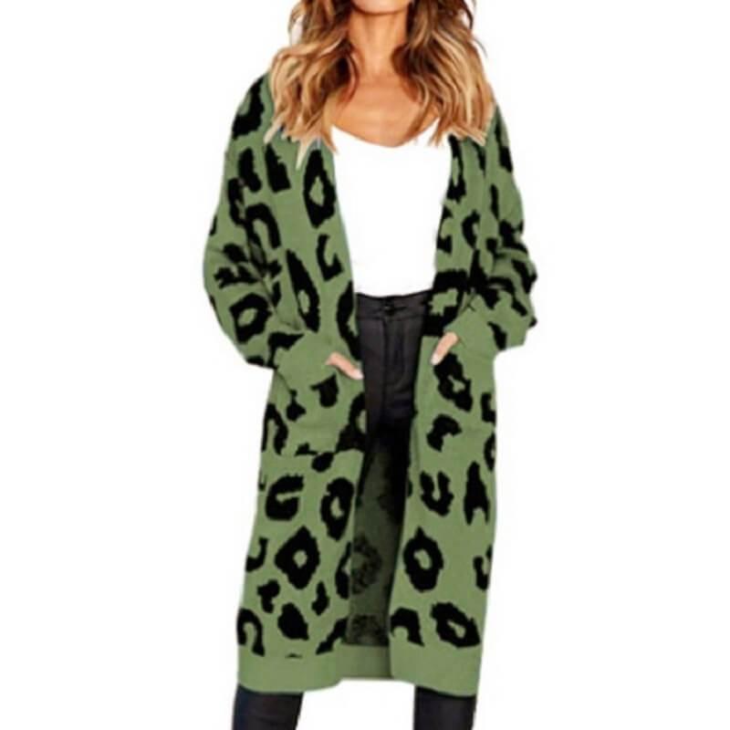 Plus Size Leopard Sweater - green color