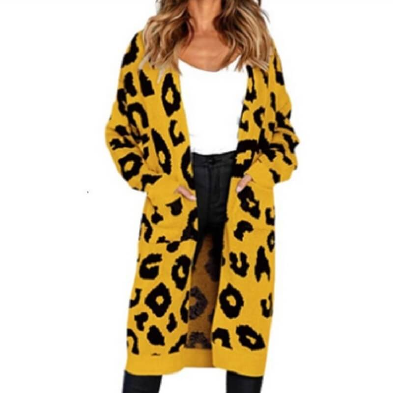 Plus Size Leopard Sweater - yellow color