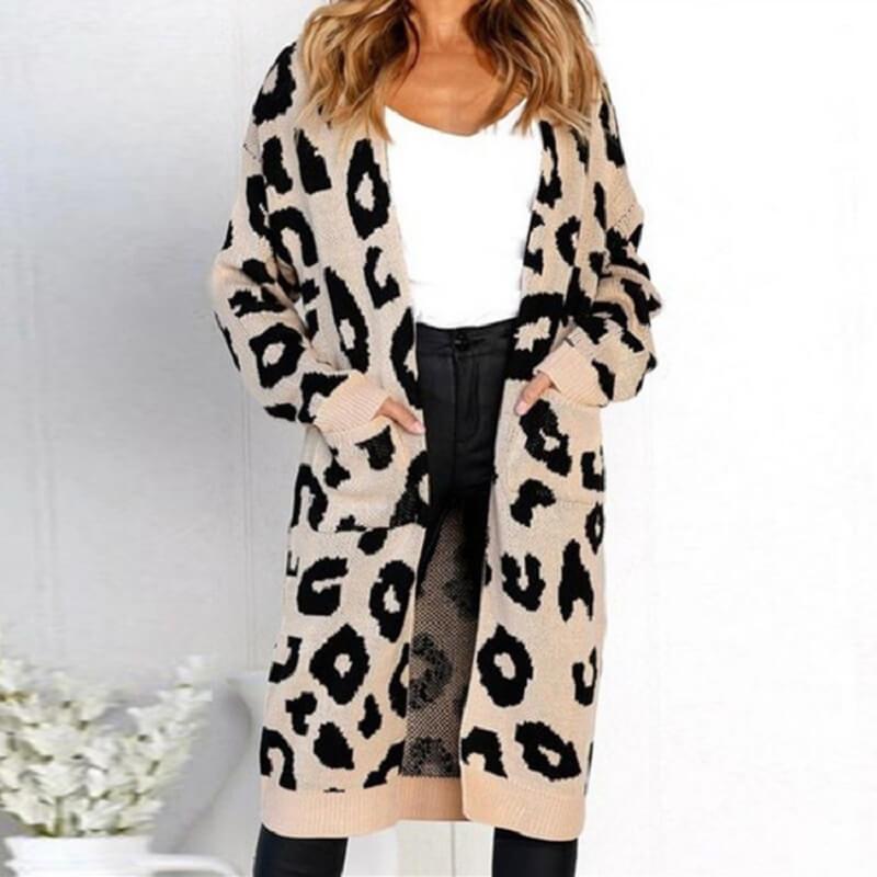 Plus Size Leopard Sweater - khaki color