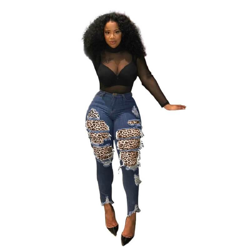 Ripped Jeans Plus Size - dark blue positive