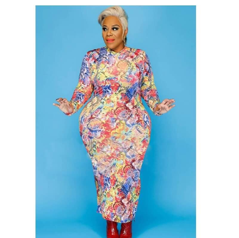 Plus Size Colorful Dresses - Serpentine color