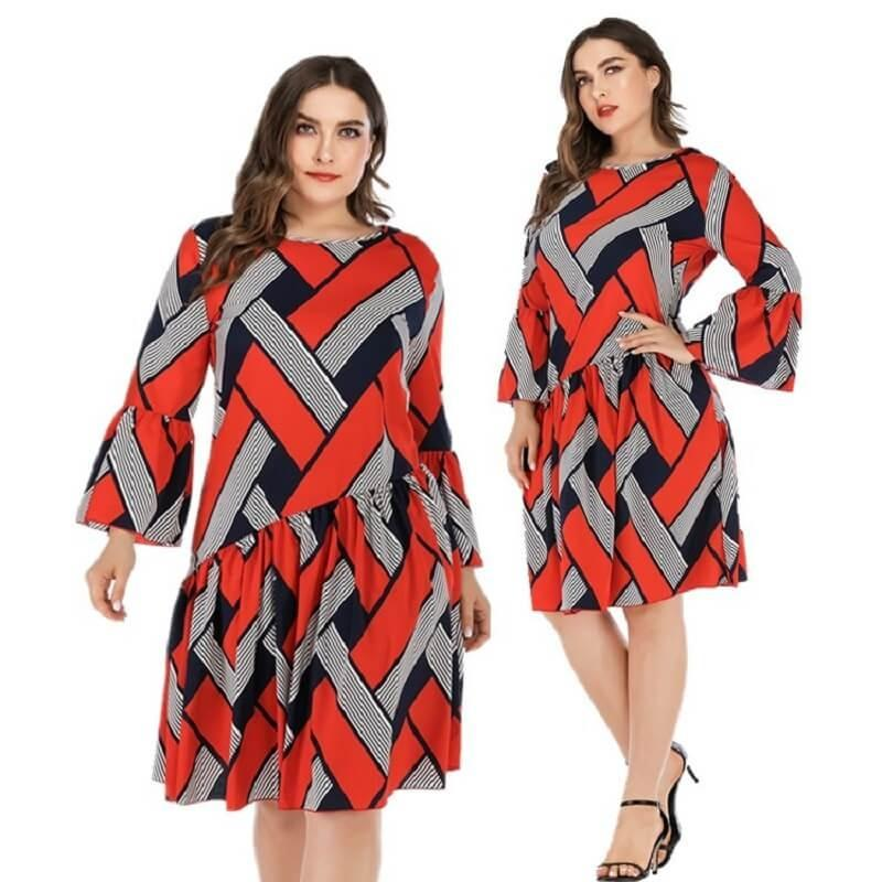 Oversized Two-tone Casual Dress - red main picture