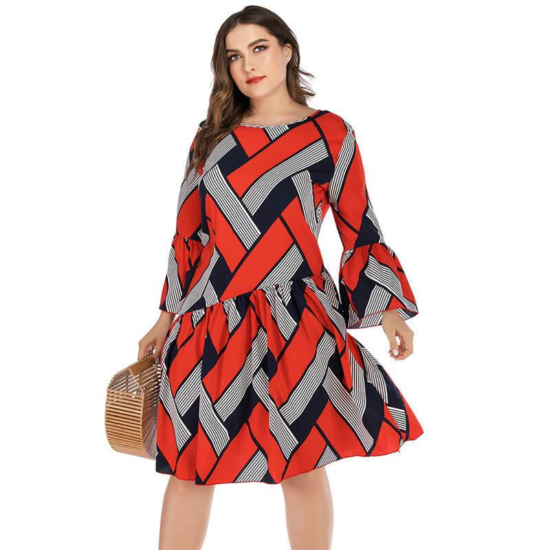 Oversized Two-tone Casual Dress - red positive