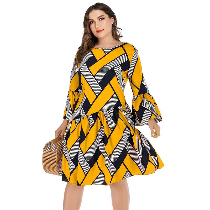 Oversized Two-tone Casual Dress- yellow positive