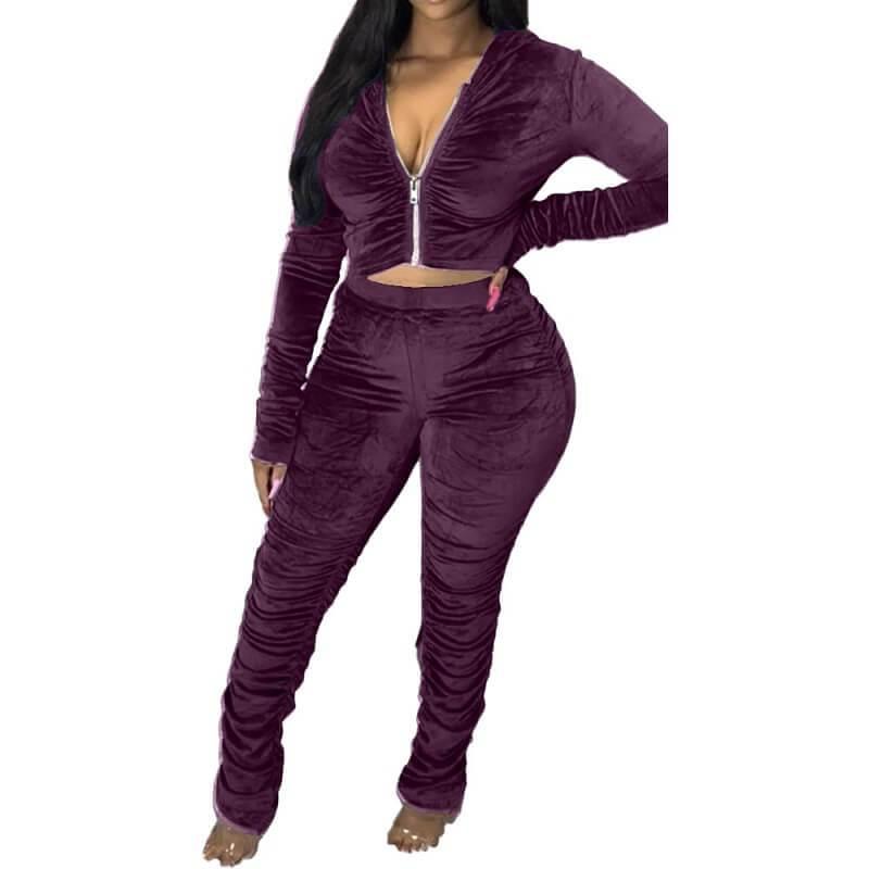Plus Size Style Leisure Suit - purple color