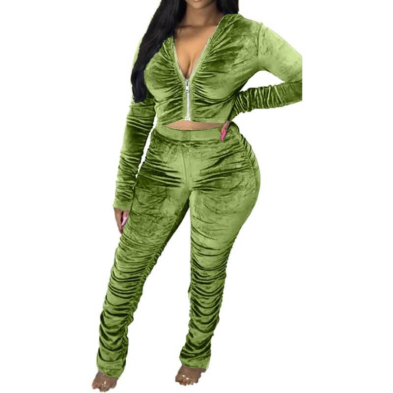 Plus Size Style Leisure Suit - green color
