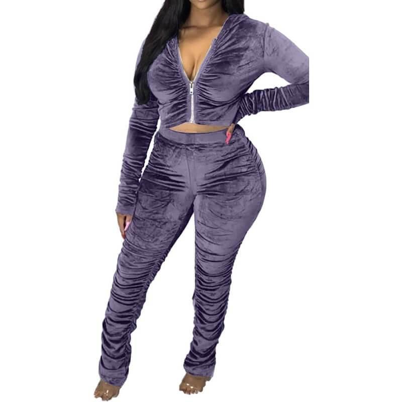 Plus Size Style Leisure Suit - blue color