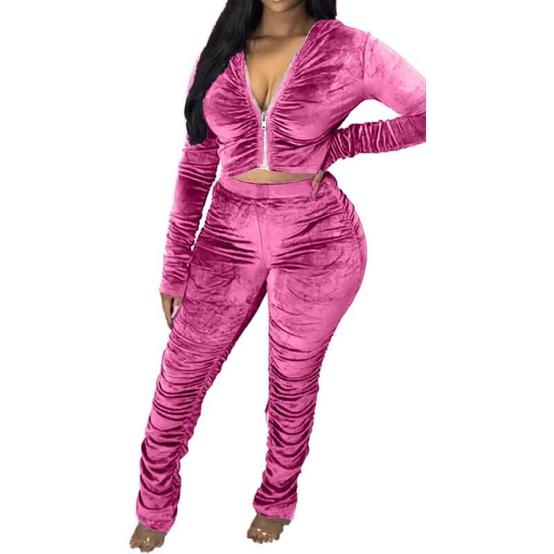 Plus Size Style Leisure Suit - pink color