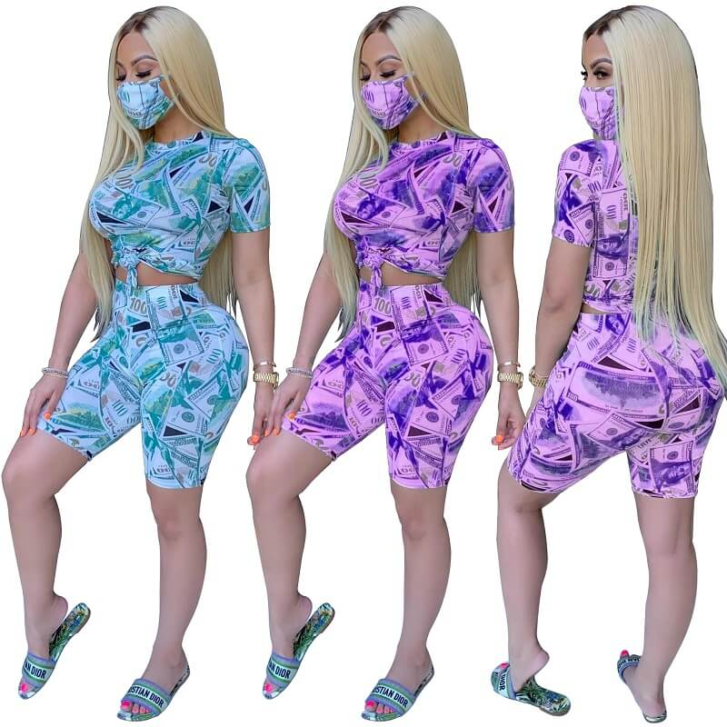 Money Print Two Piece Outfit - two colors