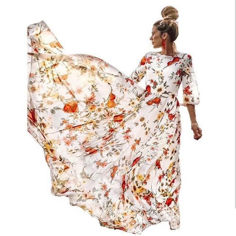 Plus Size Boho Maxi Dresses - milky white color
