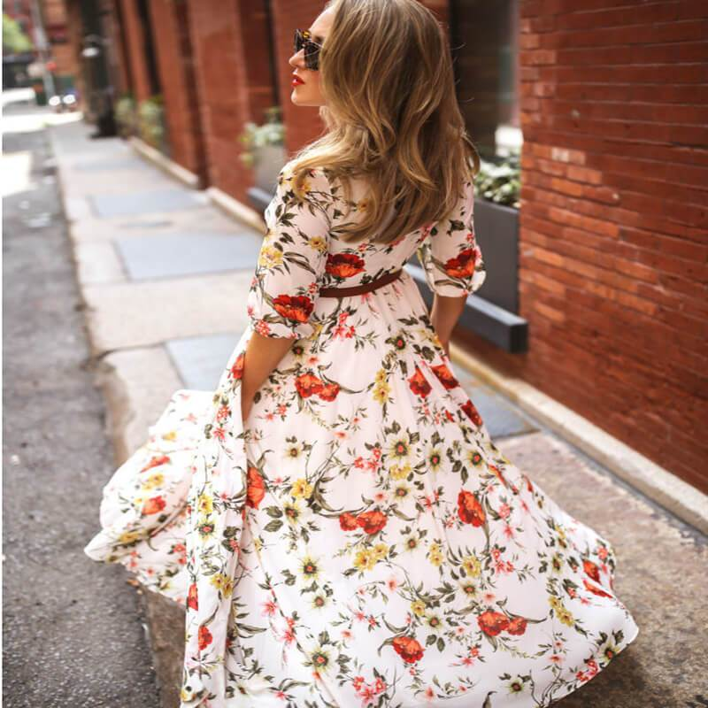 Plus Size Boho Maxi Dresses - milky white back