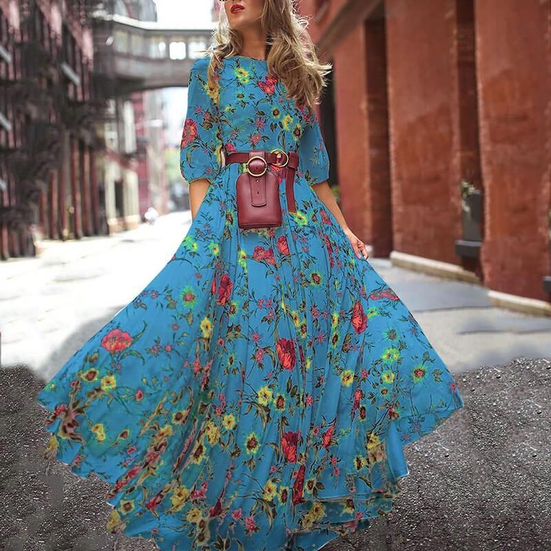 Plus Size Boho Maxi Dresses -  blue color