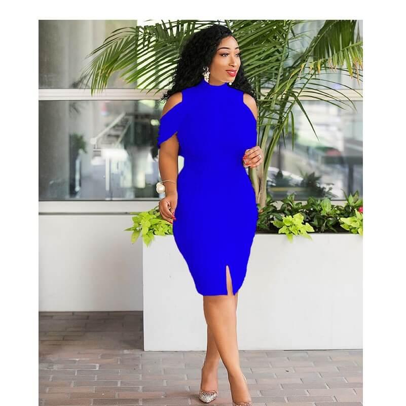 Plus Size Bandage White Dress - blue color