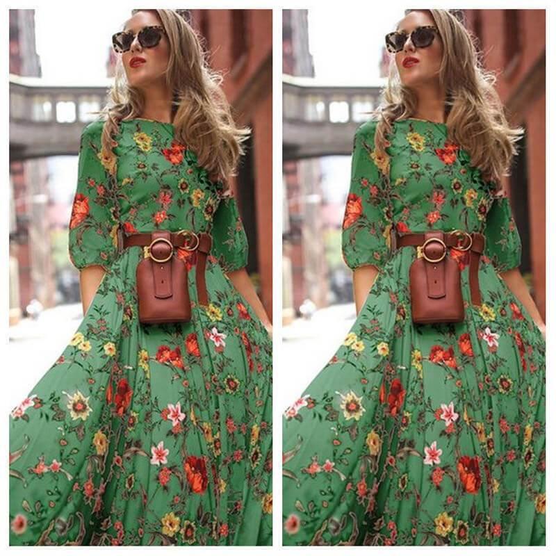 Plus Size Boho Maxi Dresses -  green color