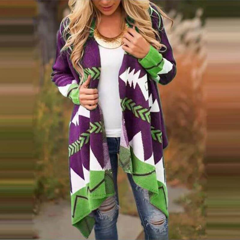 Plus Size Black Cardigan Sweater - purple color