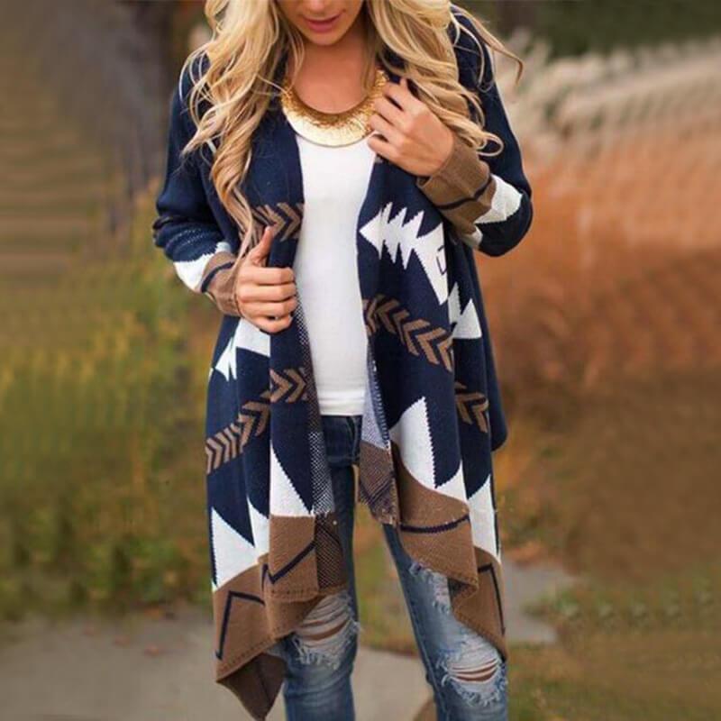 Plus Size Black Cardigan Sweater - blue color