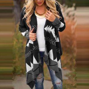 Plus Size Black Cardigan Sweater - black color